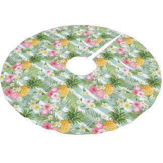Jupon De Sapin En Polyester Brossé Fleurs et ananas tropicaux sur les rayures