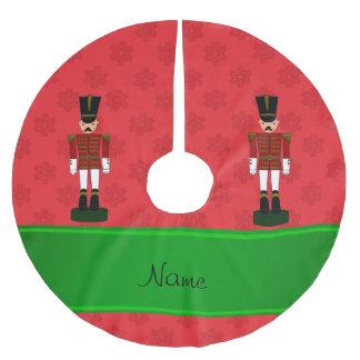 Jupon De Sapin En Polyester Brossé Flocons de neige nommés personnalisés de rouge de
