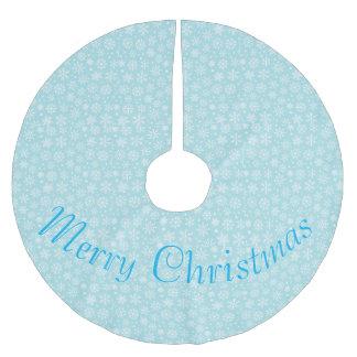 Jupon De Sapin En Polyester Brossé Flocons de neige sur la jupe bleue d'arbre