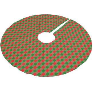 Jupon De Sapin En Polyester Brossé Grand tartan rouge et vert de contrôle de guingan