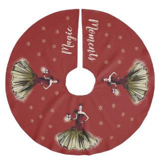 Jupon De Sapin En Polyester Brossé Illustration de mode de Noël avec le colis