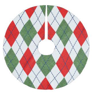 Jupon De Sapin En Polyester Brossé Jupe à motifs de losanges rouge et verte d'arbre