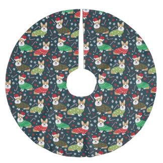Jupon De Sapin En Polyester Brossé Jupe d'arbre de chandails de corgi de Noël - chien