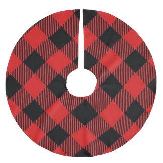 Jupon De Sapin En Polyester Brossé Jupe d'arbre de Noël de plaid de Buffalo rouge et