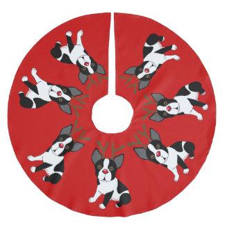 Jupon De Sapin En Polyester Brossé Jupe d'arbre de Noël de renne de Boston Terrier