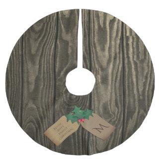 Jupon De Sapin En Polyester Brossé Jupe en bois foncée rustique d'arbre de Noël de