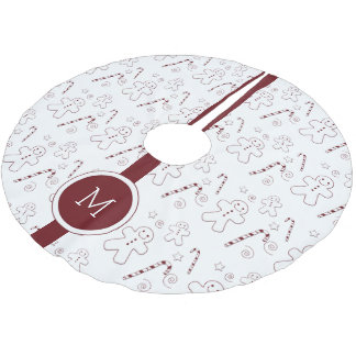 Jupon De Sapin En Polyester Brossé Jupe marron d'arbre du monogramme | de motif de
