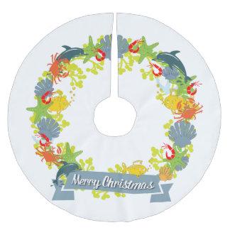 Jupon De Sapin En Polyester Brossé Jupe nautique d'arbre de guirlande de Noël de