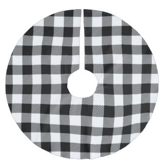 Jupon De Sapin En Polyester Brossé Jupe noire et blanche d'arbre de plaid de Buffalo