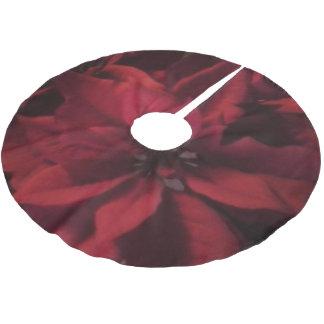 Jupon De Sapin En Polyester Brossé Jupe rouge d'arbre de Noël de poinsettia de