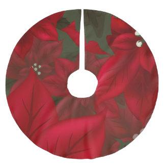 Jupon De Sapin En Polyester Brossé Jupe rouge d'arbre de poinsettia de Noël