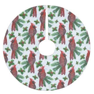 Jupon De Sapin En Polyester Brossé Jupe rouge d'arbre de vacances de motif d'oiseau