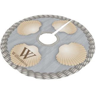 Jupon De Sapin En Polyester Brossé Le blanc gris de planches de plage de coquillages