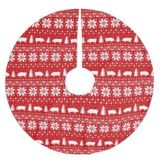 Jupon De Sapin En Polyester Brossé Le porc silhouette le motif de chandail de Noël