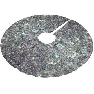 Jupon De Sapin En Polyester Brossé Mosaïque argentée colorée scintillante v2