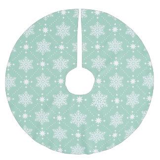 Jupon De Sapin En Polyester Brossé Motif blanc vert en bon état de Noël de flocons de