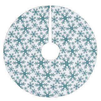 Jupon De Sapin En Polyester Brossé Motif bleu de flocon de neige sur un arrière -