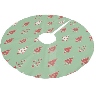 Jupon De Sapin En Polyester Brossé Motif d'arbres de Noël