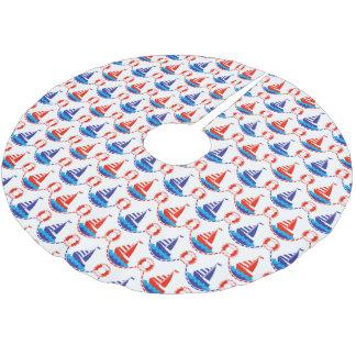 Jupon De Sapin En Polyester Brossé Motif de bateau à voile