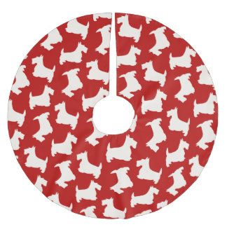 Jupon De Sapin En Polyester Brossé Motif de chien de Terrier d'écossais