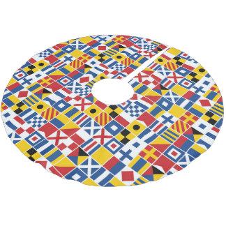 Jupon De Sapin En Polyester Brossé Motif de drapeaux de signal nautique