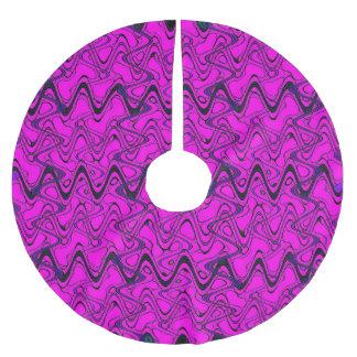 Jupon De Sapin En Polyester Brossé Motif de vagues géométrique de rose et de noir
