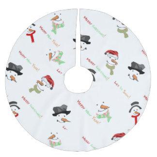 Jupon De Sapin En Polyester Brossé Motif lunatique de bonhomme de neige de Noël