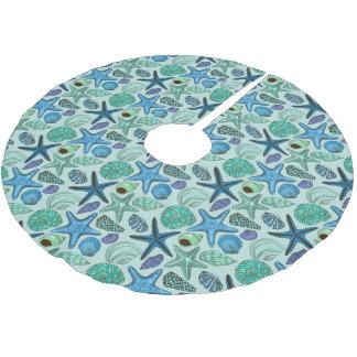 Jupon De Sapin En Polyester Brossé Nuances des coquillages et du motif bleus