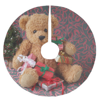 Jupon De Sapin En Polyester Brossé Ours de nounours avec beaucoup de cadeaux de Noël