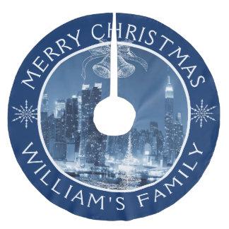 Jupon De Sapin En Polyester Brossé Paysage d'hiver de New York City de Joyeux Noël
