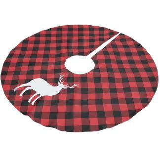 Jupon De Sapin En Polyester Brossé Plaid rouge et vacances blanches du mâle |