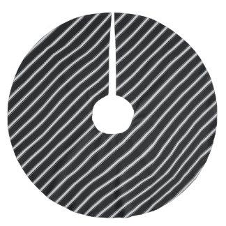 Jupon De Sapin En Polyester Brossé Rayé noir et blanc - jupe d'arbre de Noël