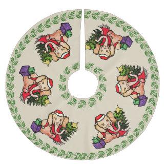 Jupon De Sapin En Polyester Brossé Rétros éléphants de fête de Père Noël de Joyeux