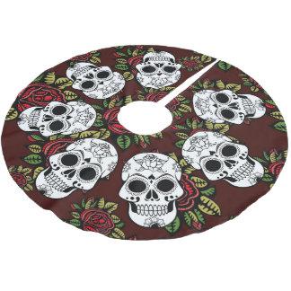 Jupon De Sapin En Polyester Brossé Roses de crâne de Noël de jupe d'arbre rétros
