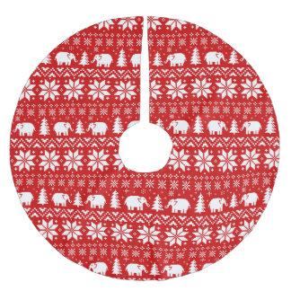 Jupon De Sapin En Polyester Brossé Rouge mignon de motif de Noël d'éléphants