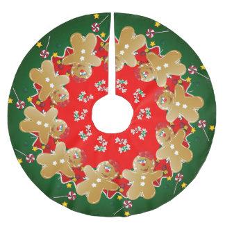 Jupon De Sapin En Polyester Brossé Sucreries de bonbon à pain d'épice de Noël