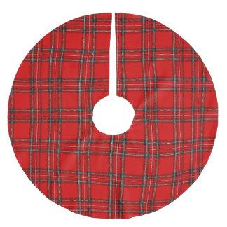 Jupon De Sapin En Polyester Brossé Tartan rouge - jupe d'arbre de Noël