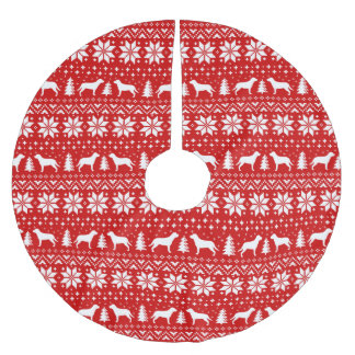 Jupon De Sapin En Polyester Brossé Un plus grand rouge suisse de motif de Noël de