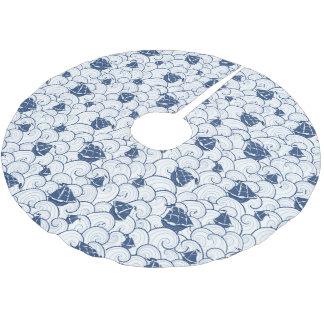 Jupon De Sapin En Polyester Brossé Voiliers sur le motif de mer