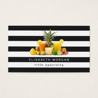 Jus de kiwis d'ananas - rayures blanches noires cartes de visite
