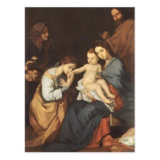 Jusepe Ribera- la famille sainte avec St Catherine Cartes Postales
