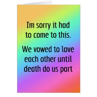 Jusqu'à la mort faites-nous divorce de partie carte de vœux