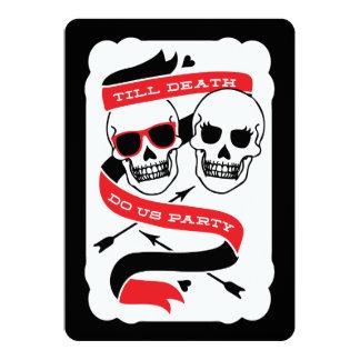 Jusqu'à la mort faites-nous mariage noir et rouge carton d'invitation  12,7 cm x 17,78 cm
