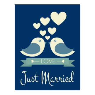 Juste carte postale bleue mariée de mariage de