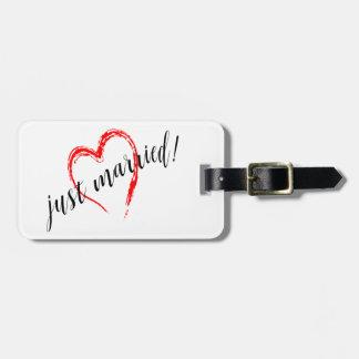 Juste coeur marié étiquette pour bagages