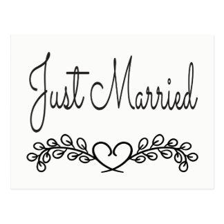Juste mariage marié noir et blanc de laurier de cartes postales