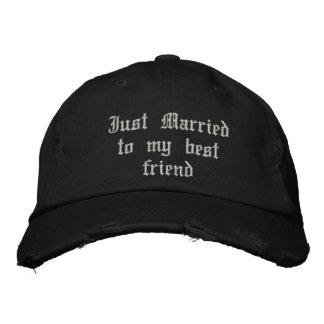 Juste marié à mon casquette gothique de mariage de