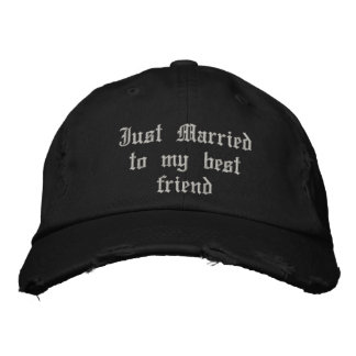 Juste marié à mon casquette gothique de mariage de casquette brodée