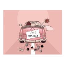 Juste marié épousant la carte postale d'amour de