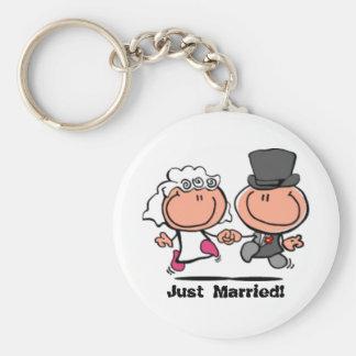 Juste marié épousant le porte - clé de bande porte-clé rond